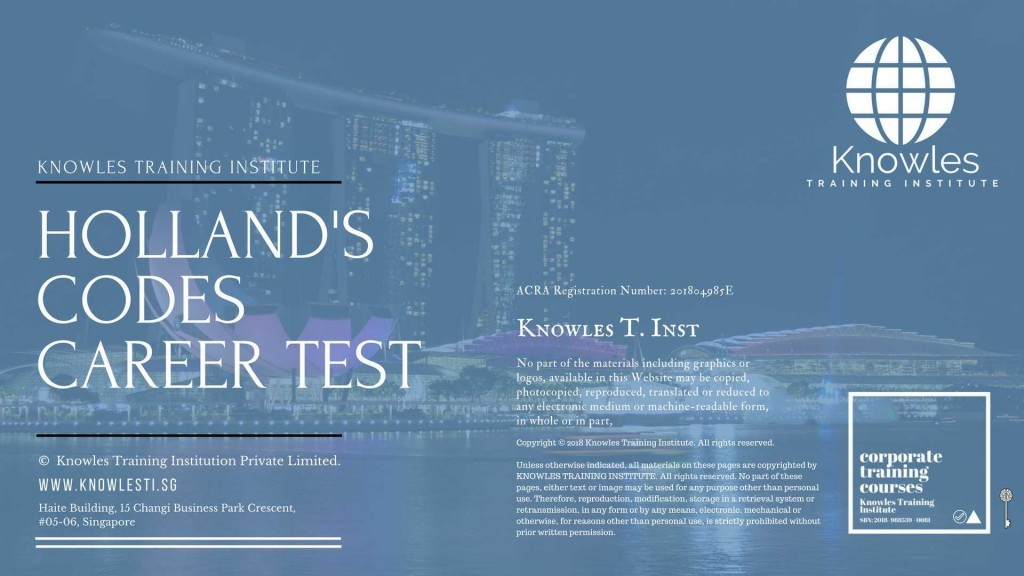 Holland'S Codes Career Test Training Course In Singapore