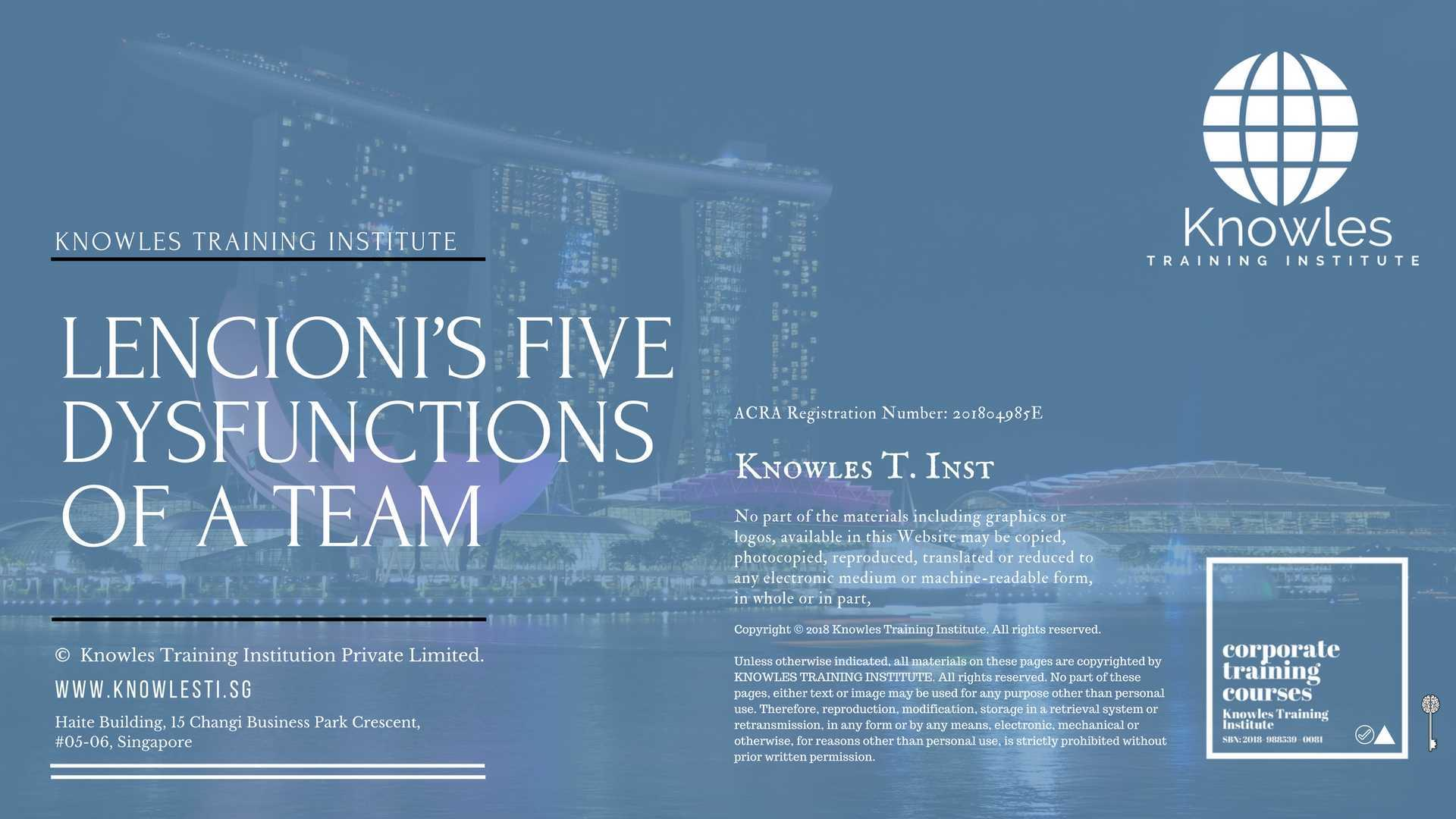 Lencionis Five Dysfunctions Of A Team Course In Singapore