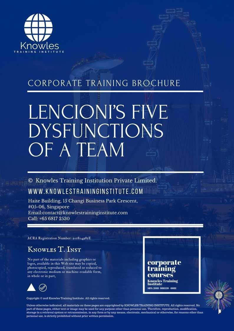 Request For This Lencionis Five Dysfunctions Of A Team Course Brochure Fill Up The Short Information Below And We Will Send It To You Right Away