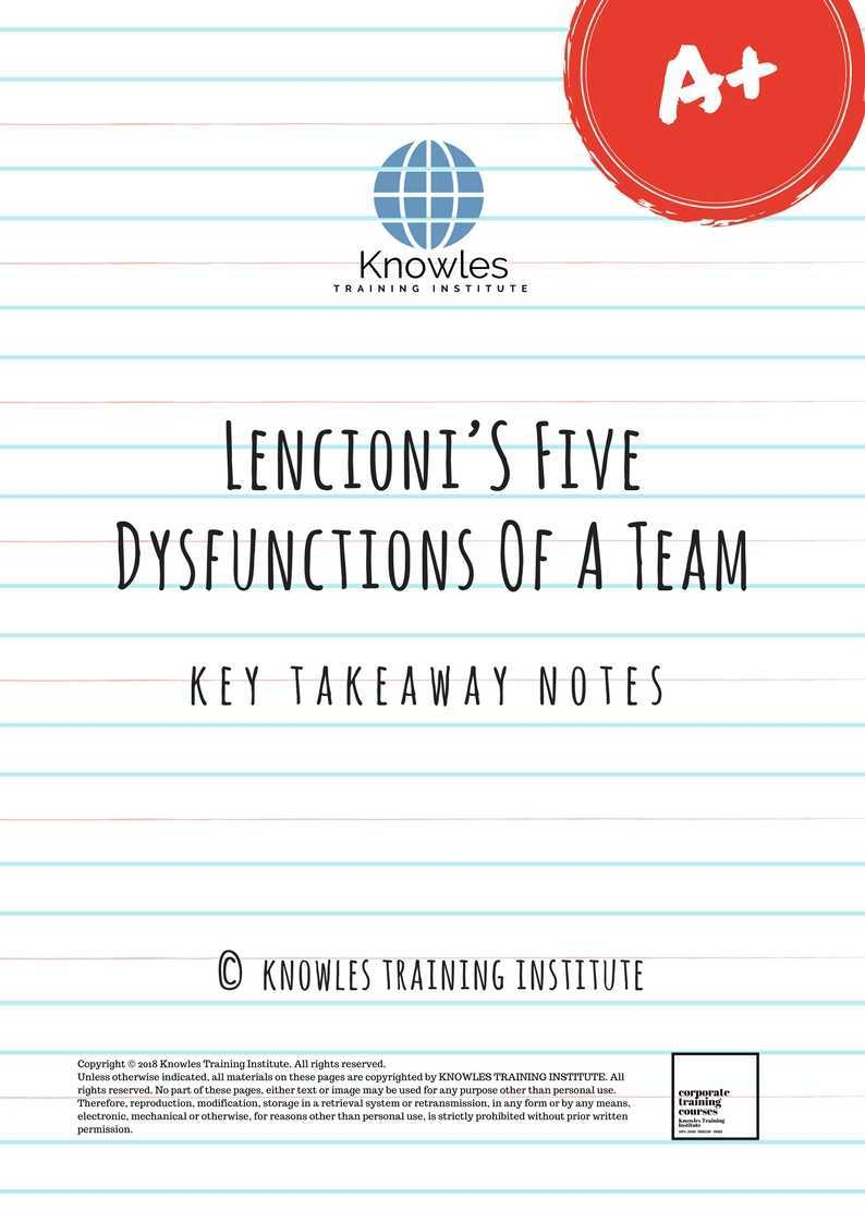 Lencionis Five Dysfunctions Of A Team Key Takeaways Notes