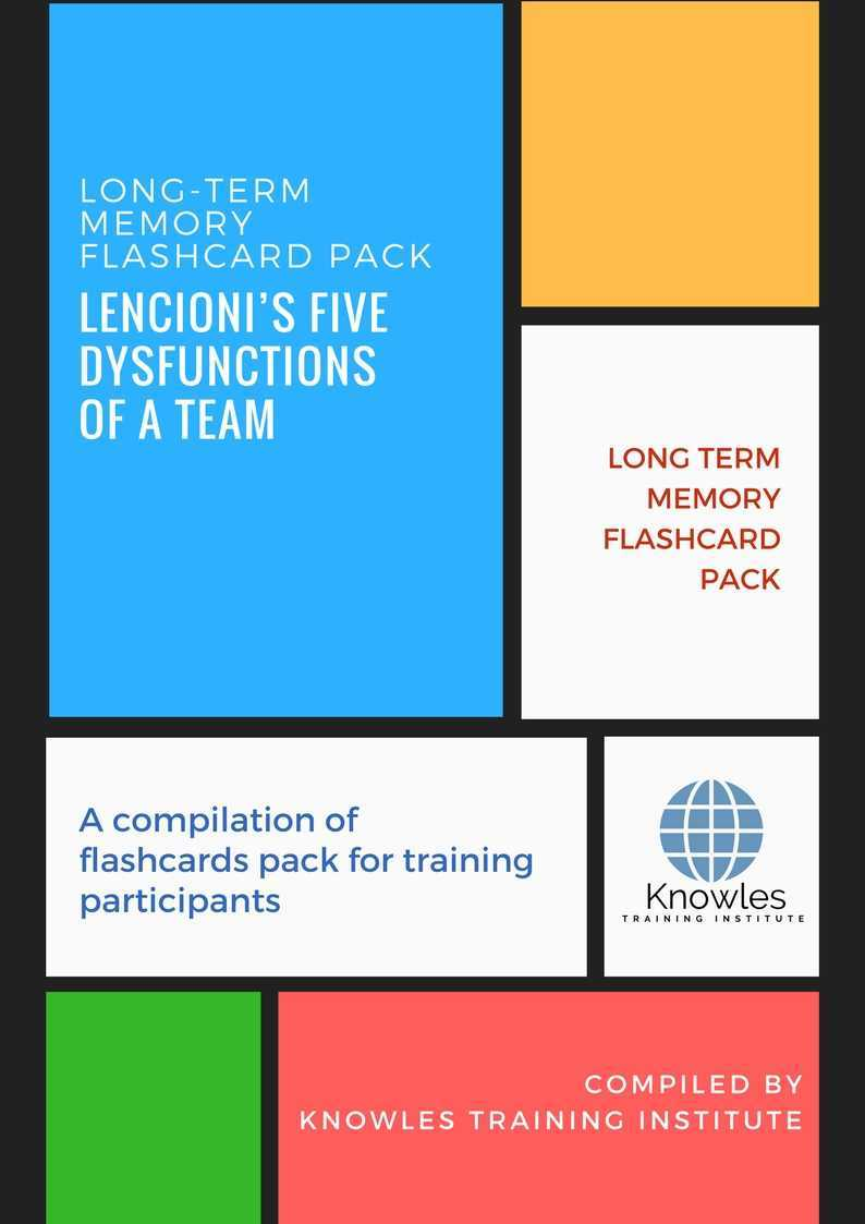 Lencionis Five Dysfunctions Of A Team Long Term Memory Flashcards Pack