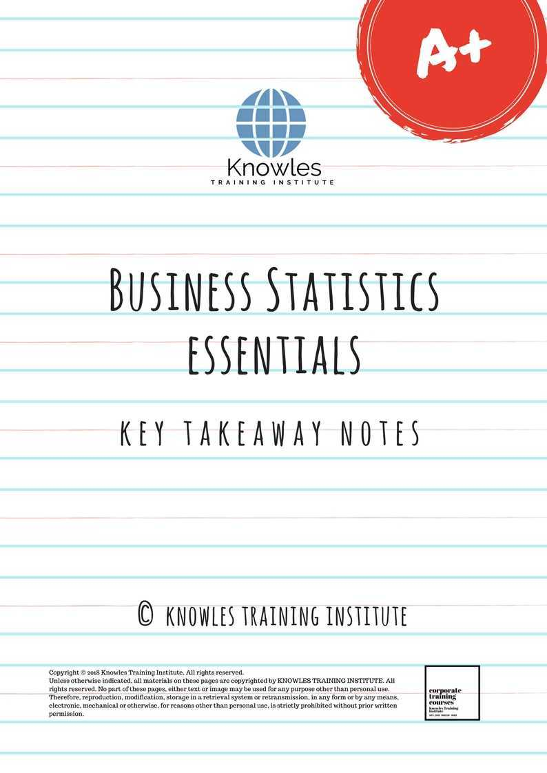 Business Statistic Training Course in Singapore - Knowles