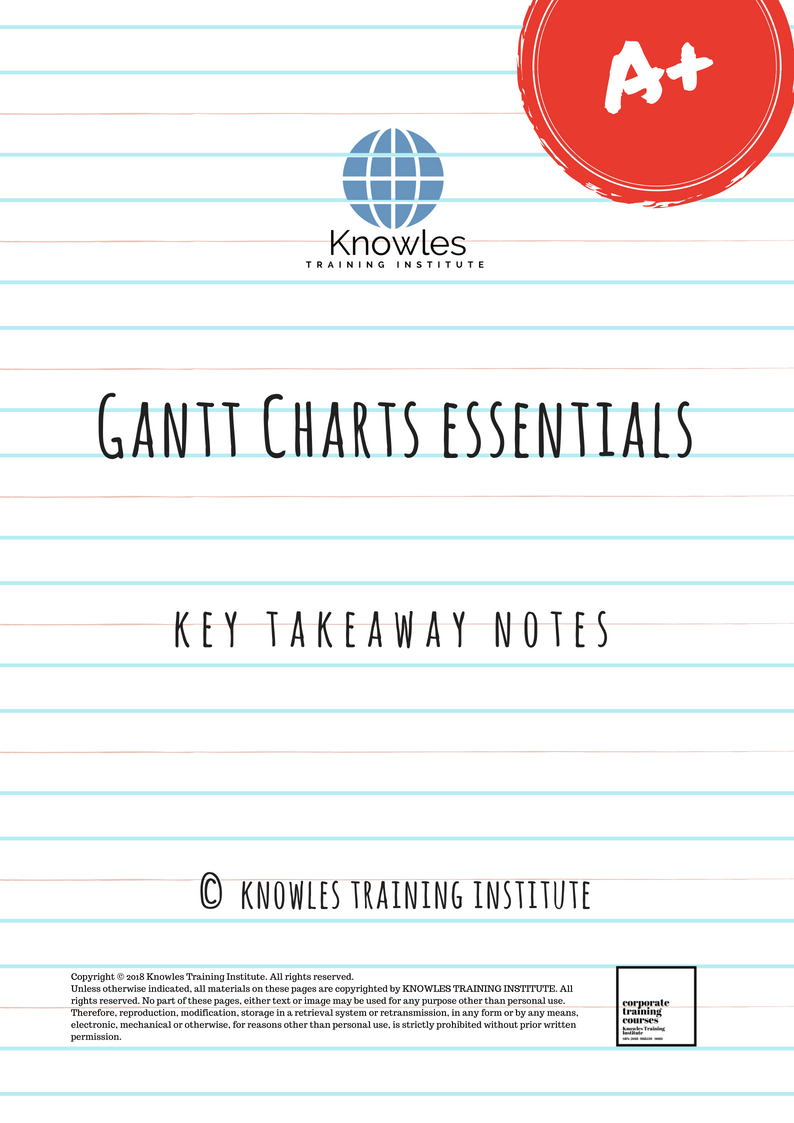 Gantt Charts Training Course In Singapore Knowles Training Institute
