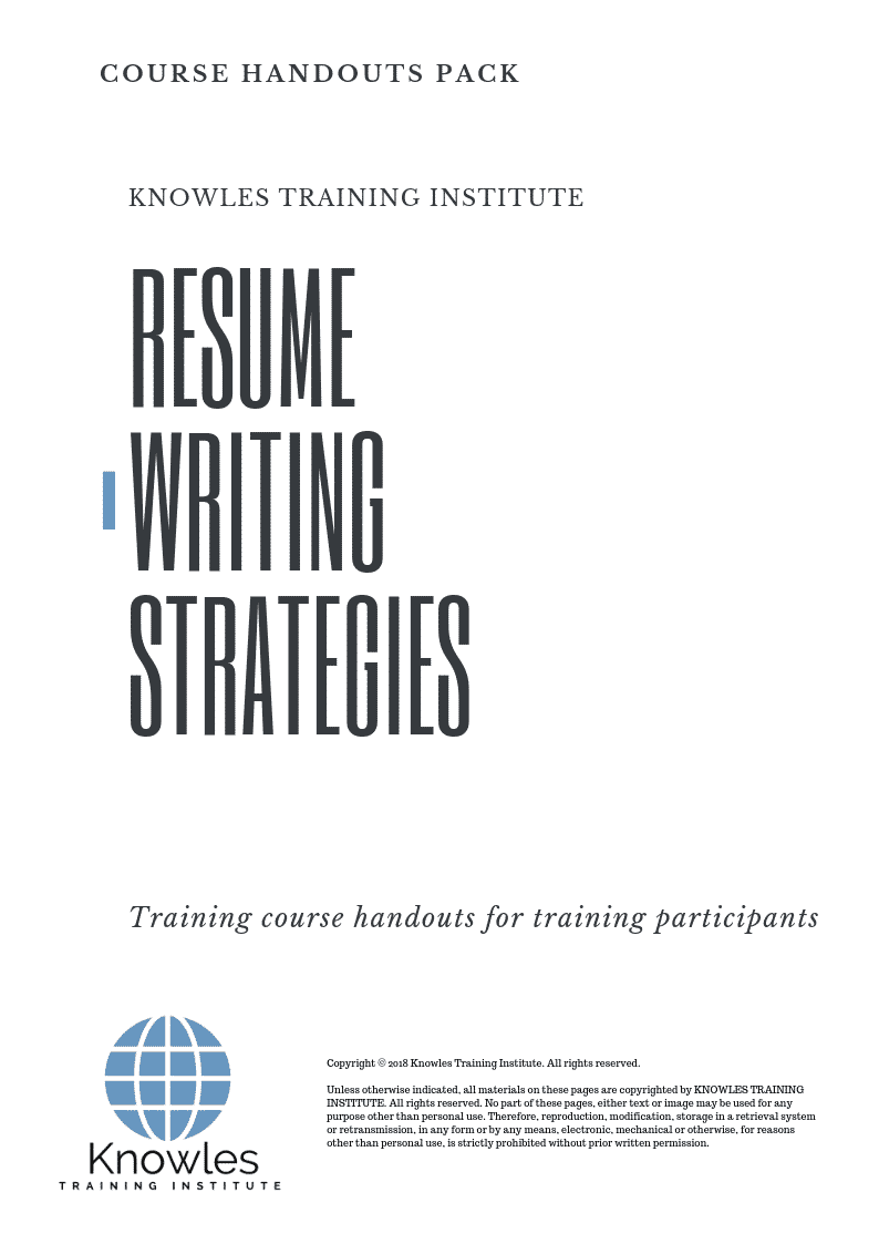 resume writing strategies training course in singapore