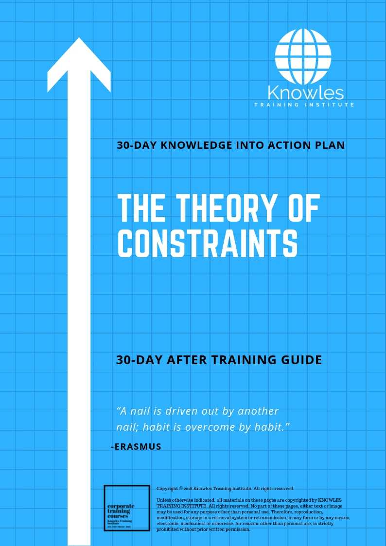 The Theory of Constraints 30 day action plan