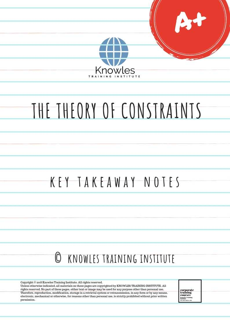The Theory of Constraints Key Takeaway Noted