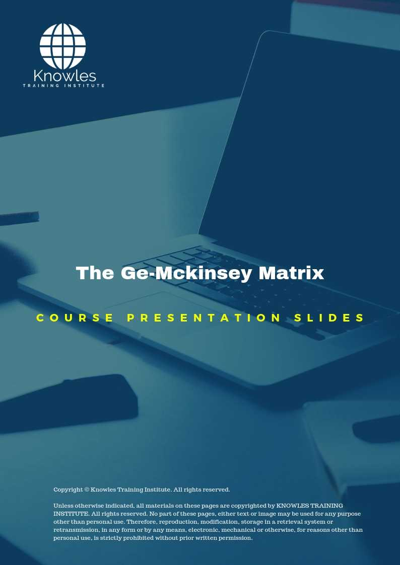 The Ge-Mckinsey Matrix Training Course In Singapore