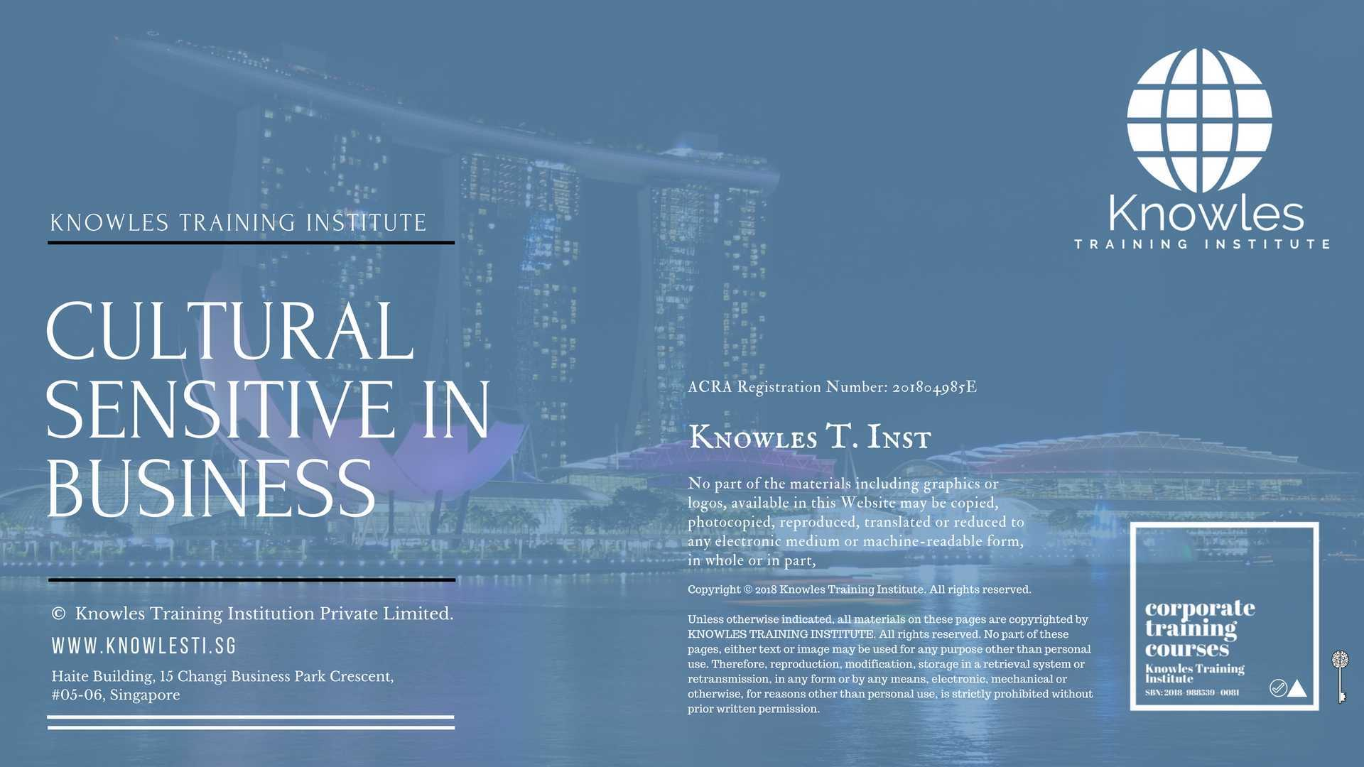 Cultural Sensitivity In Business Course Singapore