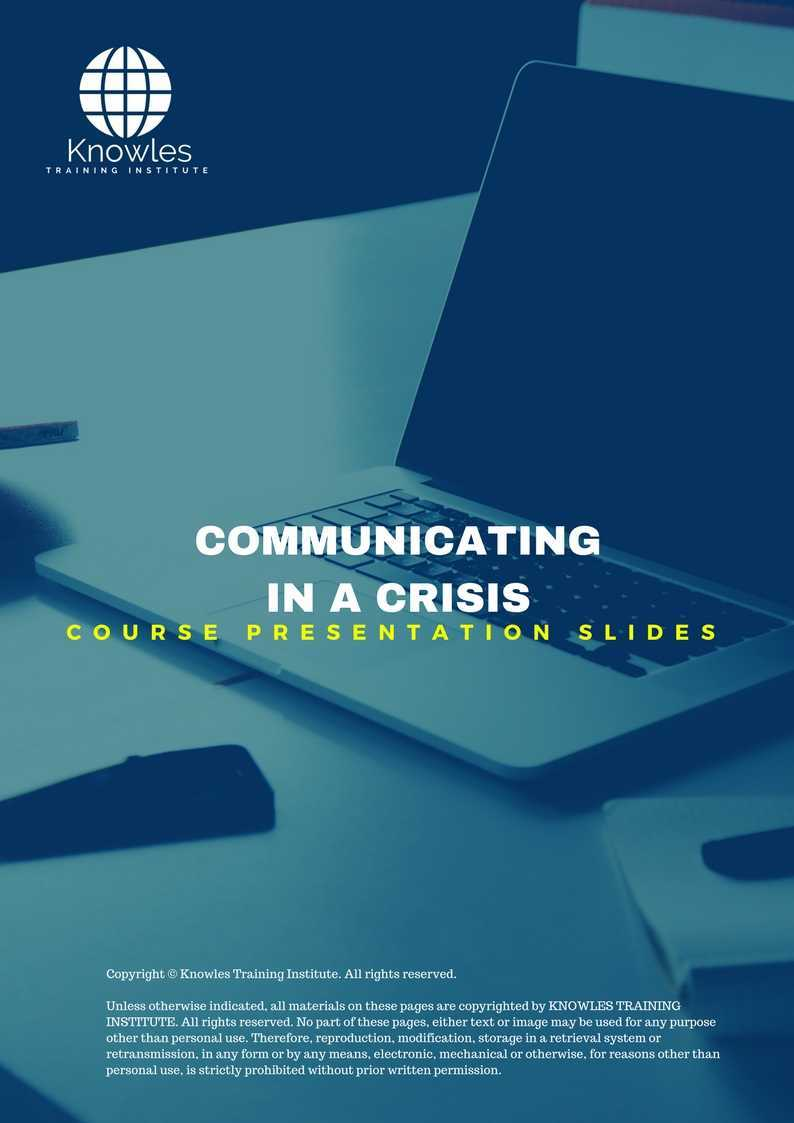 Communicating In A Crisis Course