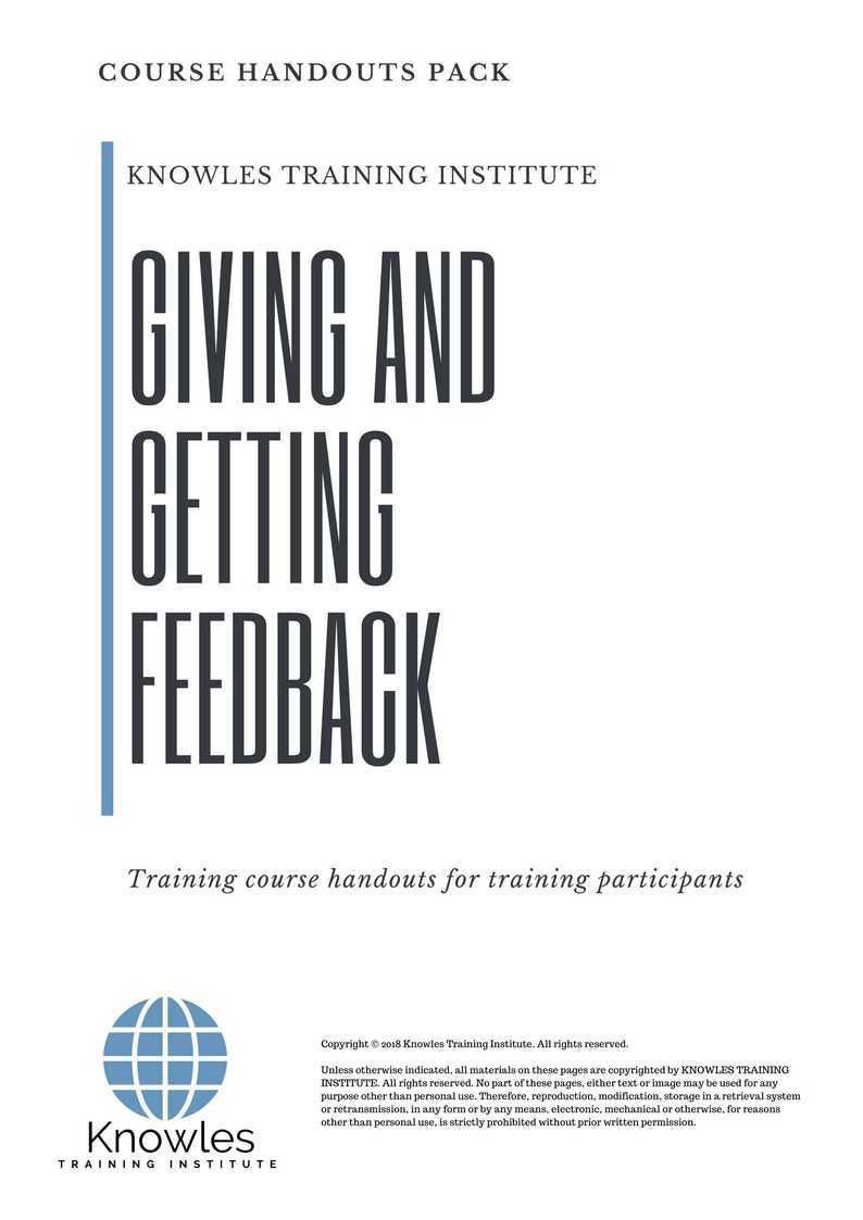 Giving And Getting Feedback Course