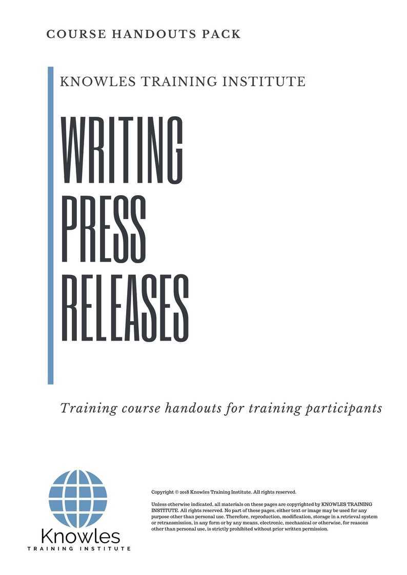 Writing Press Releases Course
