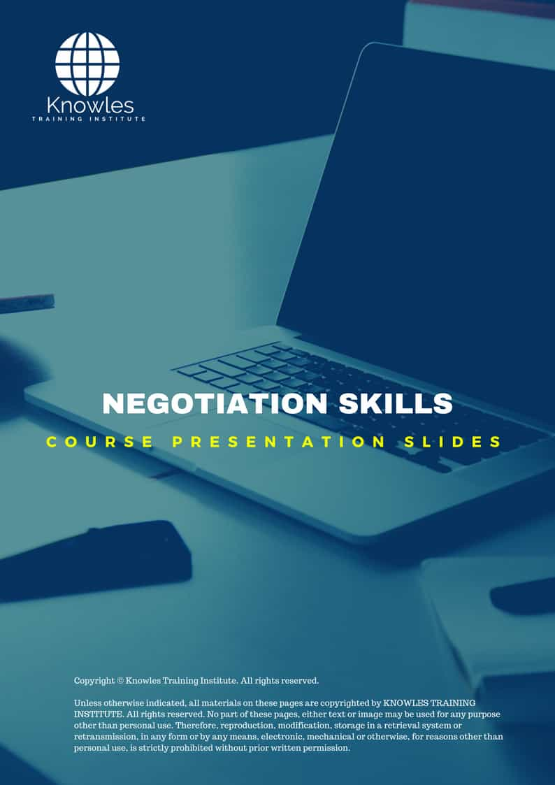 Negotiation Skills PPT Slides Used During Course