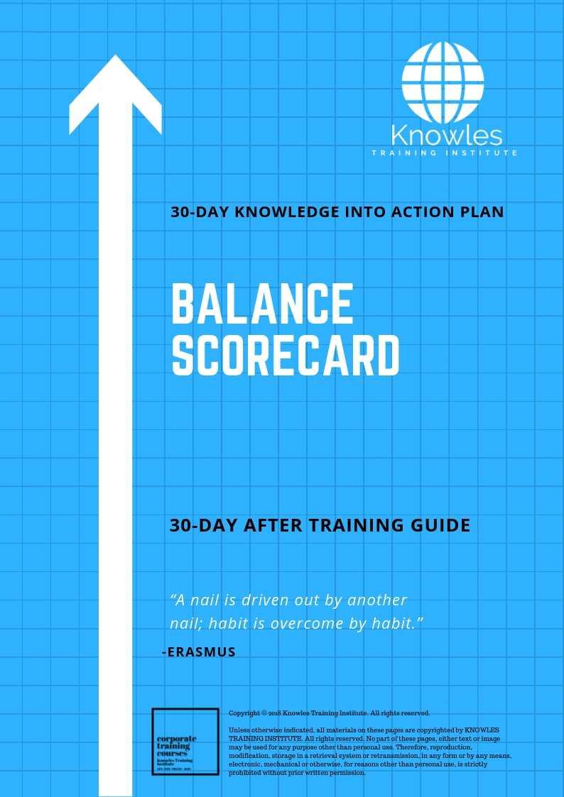 The Balanced Scorecard 30-Day Action Plan