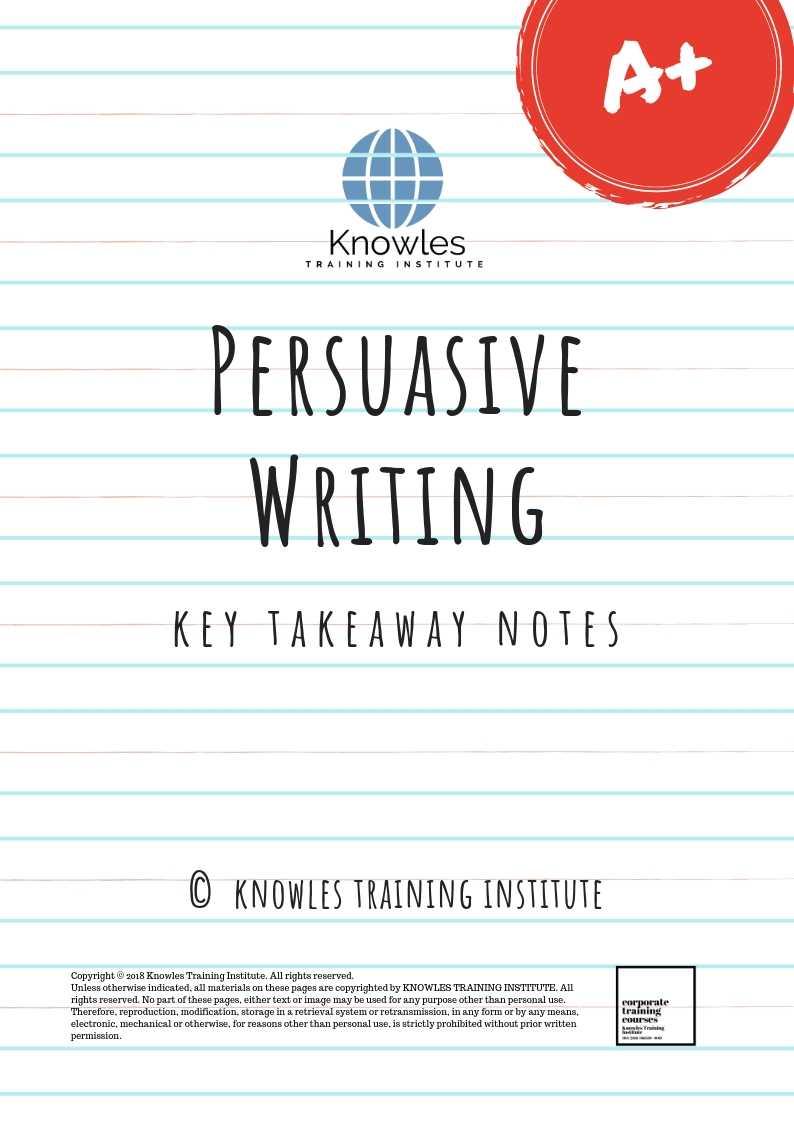 Persuasive Writing Training Course